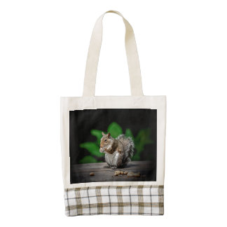 Squirrel with peanuts zazzle HEART tote bag