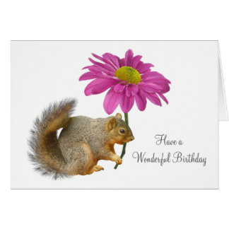 Squirrel with Pink Flower Card