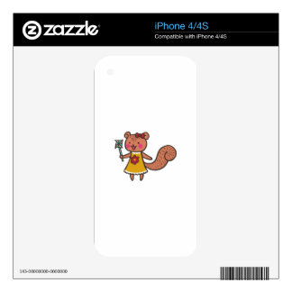 Squirrel With Pinwheel Decals For The iPhone 4S