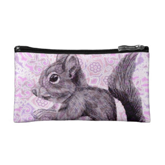 Squirrel with purple and pink Floral Design Cosmetic Bag