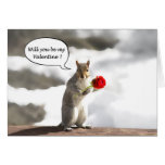 Squirrel with rose Valentine greeting card