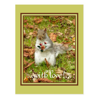 Squirrel with roses postcard