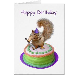 Squirrel with Sword in Cake Birthday Card
