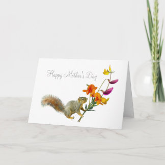 Squirrel with Wildflowers Mother's Day Card