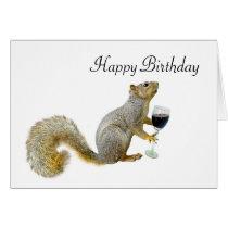 Squirrel with Wine Birthday Squirrel Card