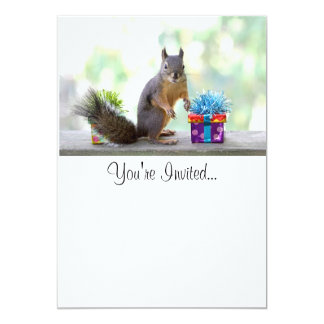 Squirrel with Wrapped Presents 5x7 Paper Invitation Card