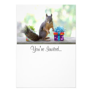 Squirrel with Wrapped Presents Announcement