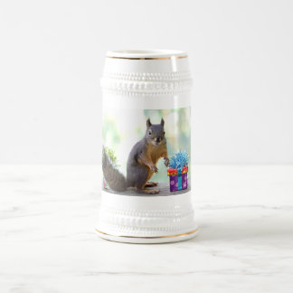 Squirrel with Wrapped Presents Beer Stein