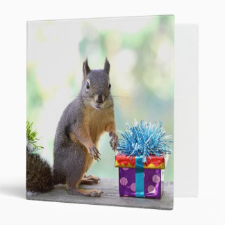 Squirrel with Wrapped Presents 3 Ring Binder