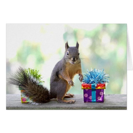 Squirrel with Wrapped Presents Card