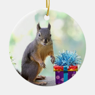 Squirrel with Wrapped Presents Ceramic Ornament