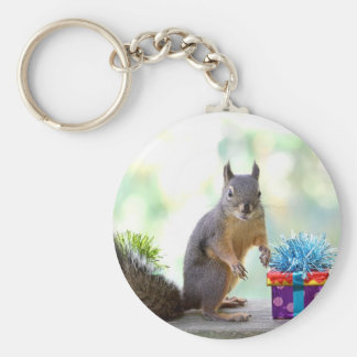 Squirrel with Wrapped Presents Keychain