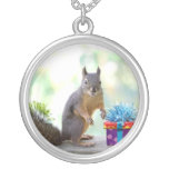 Squirrel with Wrapped Presents Necklaces