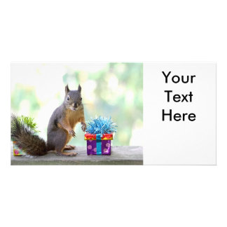 Squirrel with Wrapped Presents Photo Card Template