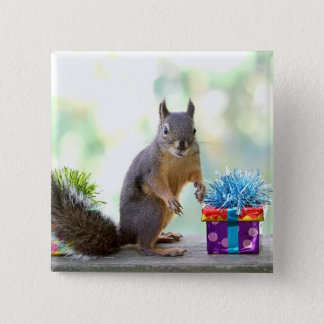 Squirrel with Wrapped Presents Pinback Button