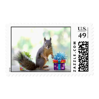 Squirrel with Wrapped Presents Postage Stamp