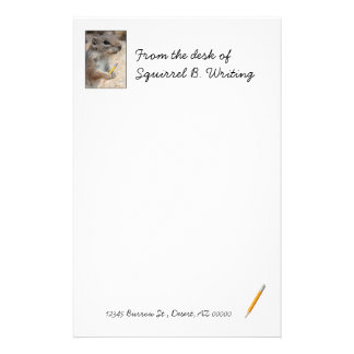 Squirrel Writer Unlined Stationery