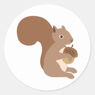 Squirrels Acorn Classic Round Sticker
