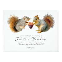 Squirrels Acorn Heart Wedding Invitation