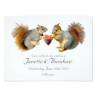 Squirrels Acorn Heart Wedding Invitation