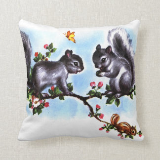 Squirrels and Chipmunk Vintage Storybook Art Throw Pillow