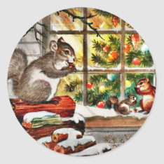 Squirrels at the Window Classic Round Sticker at Zazzle
