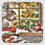 Squirrels at the Window Square Sticker