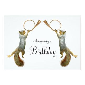 Squirrels Blowing Horns Birthday Invitation