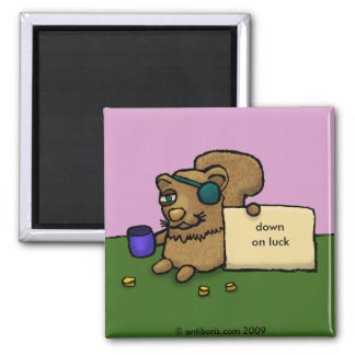 Squirrels - Down on luck 2 Inch Square Magnet