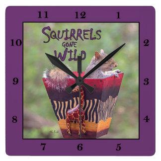 SQUIRRELS GONE WILD -Clock Square Wall Clock
