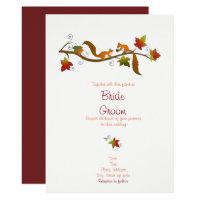 Squirrels in love: Fall wedding invitation