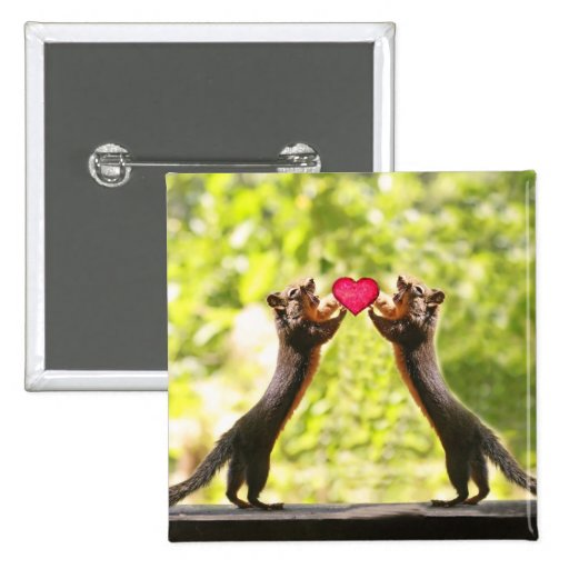 Squirrels in Love Photo Pinback Buttons