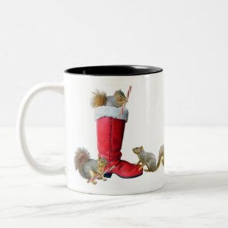 Squirrels in Santa's Boot Mug