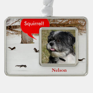 Squirrels in the Snow Pet Photo Christmas Ornament Silver Plated Framed Ornament