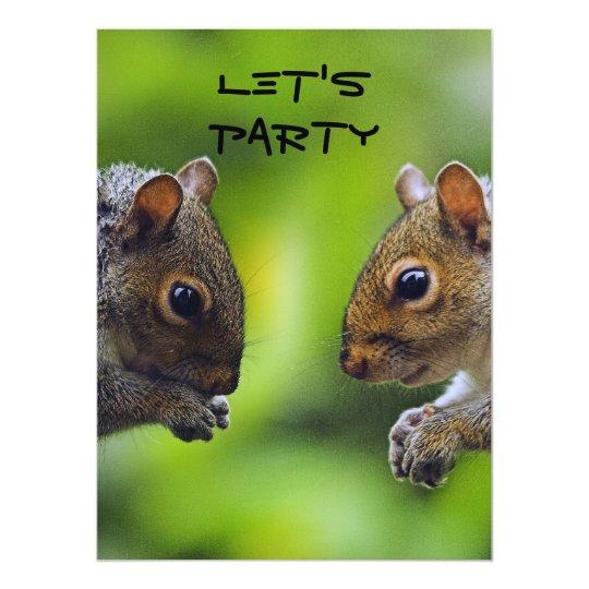 Squirrels Let's Party Invitation