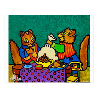 Squirrels  lunch by Piliero Postcard