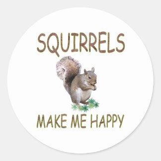 Squirrels Make Me Happy Classic Round Sticker