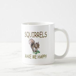 Squirrels Make Me Happy Coffee Mugs