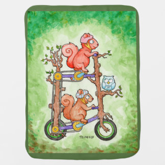 Squirrels on a Double Decker Tall Bike Swaddle Blanket