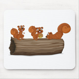 Squirrels on a log mouse pad