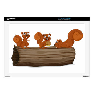 Squirrels on a log laptop skin