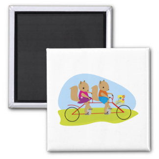 Squirrels on a Tandem Bike 2 Inch Square Magnet