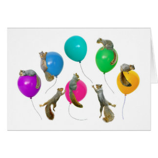 Squirrels on Balloons Card