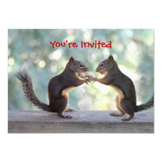 Squirrels Sharing a Peanut Photo 5x7 Paper Invitation Card