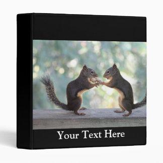Squirrels Sharing a Peanut Photo 3 Ring Binder