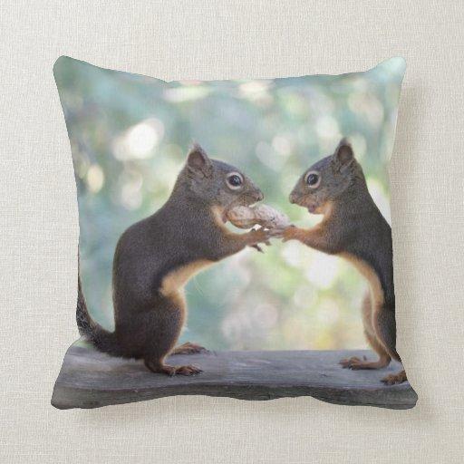 Squirrels Sharing a Peanut Photo Throw Pillow