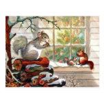 Squirrels Vintage Christmas Post card