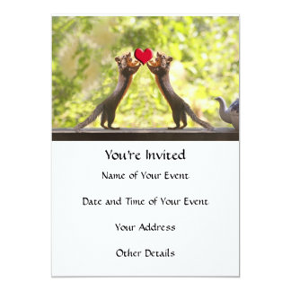 Squirrels with Heart 5x7 Paper Invitation Card