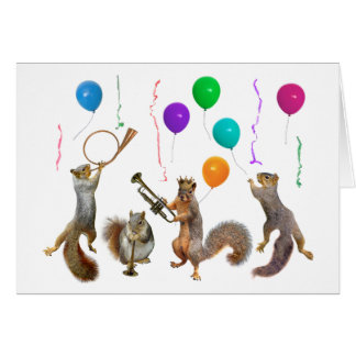Squirrels with Horns and Balloons Birthday Card