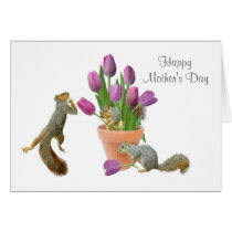 Squirrels with Tulips Mother's Day Card